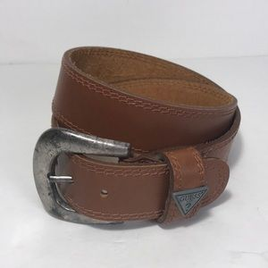 Guess Brown Leather Logo Belt Size Large
